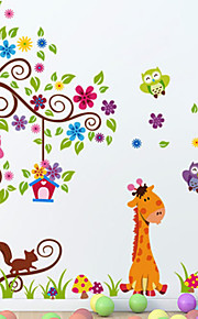 Wall Stickers Wall Decals, Giraffe and Lion PVC Wall Stickers