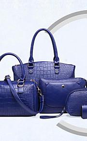 Women PU Barrel Shoulder Bag / Tote - Blue / Red / Black