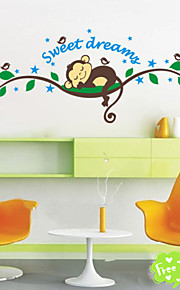 Sweet Dream Cartoon Monkey Wall Stickers For Kids Room Home Decorations Zooyoo1203 Diy Bedroom Decal Mural Art