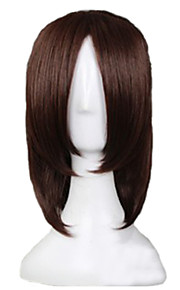 Angelaicos Men HanJi Zoe Attack On Titan Boy Medium Brown Clip on Ponytail Halloween Costume Party Cosplay Wig