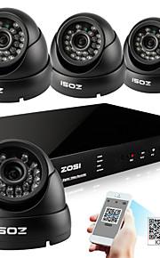 zosi® 8 kanals h.264 hdmi d1 dvr 4 stk 800tvl udendørs dag nat CCTV kamera overvågning sikkerhedssystem