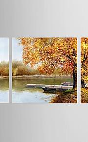 oljemålning dekoration abstrakt sidan målade med sträckt inramat - uppsättning av 3