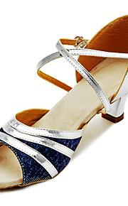 Бальные женские туфли из из кожзаменителя с блестками для исполнения латинских танцев