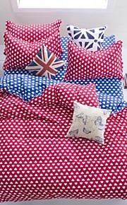 mingjie® 남자와 여자 침대 시트 중국 큐피드 빨간색과 파란색 여왕과 트윈 사이즈 샌딩 침구 세트 4 개