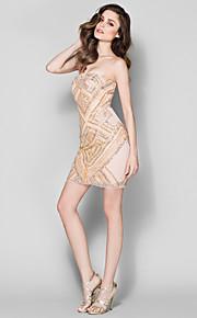칼집 / 칼럼 끈이 짧은 / 미니 얇은 명주 그물 / 저지 - 동창회는 양재 칵테일 파티 드레스의 TS