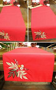 Краткое моды цветок аппликация вышивкой красный Рождественский стол бегун