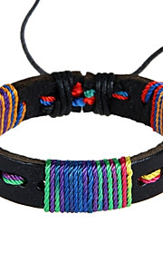 Unisex Western Style Colourful Weave  Chain Bracelet Faux Leather