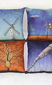 uppsättning av fyra litterära stil örngott soffa heminredning kuddfodral (17 * 17 tums)