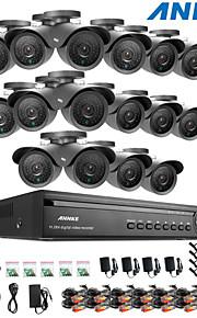 annke® 16ch dvr ecloud hdmi 1080p / VGA / BNC-uitgang 16pcs 900tvl cmos 42leds dag / nacht ir-cut camera IP66
