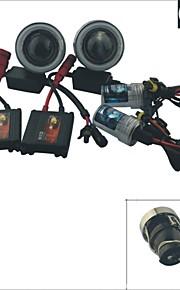 carking ™ h3 gemte 35W 6000K 2600ml bil projektor tåge lamper kit med hvid / blå lys CCFL angel-eyes
