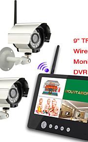 Bebé 2.4G dos cámaras de vídeo de audio de 9 pulgadas supervisa el sistema de seguridad dvr quad de 4 canales con ir luz de noche