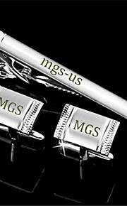 Personalized Gift Men's Engravable Silver Plain Rim Greek Pattern Cufflinks and Tie Bar Clip Clasp(1 Set)