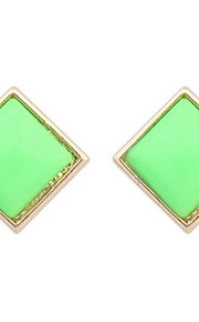 Women's Fine Fashion Simple Sweet Square Stud Earrings With Rhinestone
