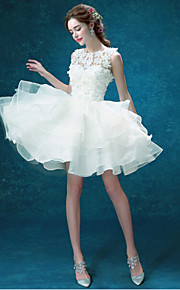 Robe de Mariage - Blanc Trapèze Tour du Cou Court/Mini Court/Mini