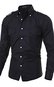 Men's Long Sleeve Shirt , Cotton / Polyester Casual / Work Plaids & Checks / Pure Epaulet