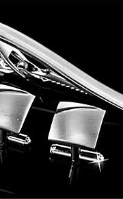 Men's Engravable Silver Plain Wave Pattern Cufflinks and Tie Bar Clip Clasp(1 Set)