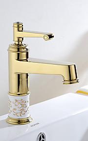 מיקסר פליז Gloden מעבר חם וקר יחיד חדר אמבטיה ידית ברז כיור אגן