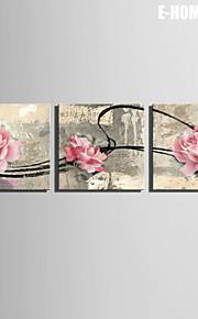 e-Home® venytetty kankaalle art vaaleanpunainen ruusu koriste maalaus sarja 3