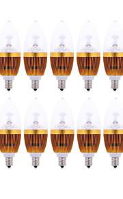 10 stk. HRY E14 3 W 3 300-350 LM Varm hvit/Kjølig hvit C Dekorativ Lysestakepære AC 220-240 V
