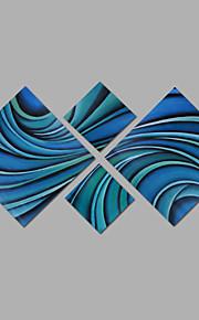 met de hand geschilderd olieverf op doek kunst aan de muur abstracte hedendaagse blauwe kleur vier panel klaar te hangen