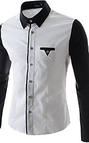 Langærmet Ensfarvet Mænds Skjorte Fritid Elastisk