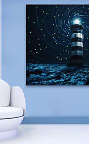 E-Home® gestreckt geführt Leinwanddruck Kunst verschneiten Nacht Leuchtturm geführte blinkende Lichtwellenleiter Druck