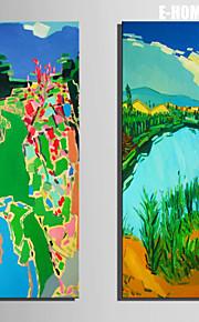 E-Home® Leinwand Kunst bunten pastorale Landschaft dekorative Malerei Set aus 2