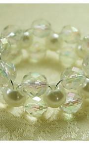 servilletero hecho punto perla lado, acrílico, 1.77inch, un conjunto de 12