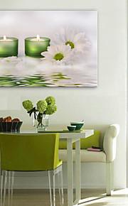 e-Home® venytetty johtama kankaalle print taidetta kynttilöitä ja kukkia johti vilkkuva valokuitu print