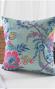 Spring Flowers Pattern Cotton/Linen Decorative Pillow Cover