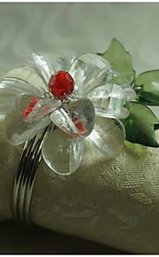anillo de flores de cristal decoración servilleta, acrílico, 1.77inch, juego de 12