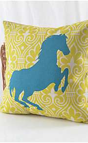 Running Horse Pattern Cotton/Linen Decorative Pillow Cover