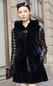 Women's Plus Size / Casual/Daily / Party/Cocktail Sexy / Simple Fur Coat,Solid / Color Block Hooded Long Sleeve Fall /