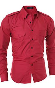 אחיד צווארון חולצה פשוטה יום יומי\קז'ואל / פורמאלי / עבודה חולצה גברים,כל העונות שרוול ארוך אדום / שחור / אפור דק כותנה