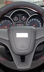 Xuji ™ zwart lederen suede stuurwiel dekking voor Chevrolet Cruze aveo