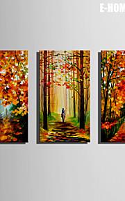 e-Home® sträckta canvas konst röd lönn och spår dekoration målning uppsättning av 3
