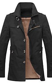 Trenchcoat ( Schwarz / Gelb / Beige , Polyester ) - für Freizeit - für MEN Lang