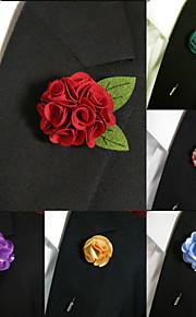 Men's Accessories Silk Blend Lapel Flowers Handmade Boutonniere Stick Pin