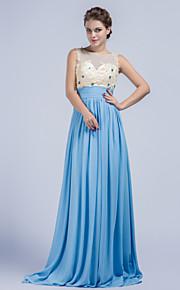 Robe - Bleu Soirée formelle Fourreau Col ras du cou Balayage / pinceau train Mousseline polyester
