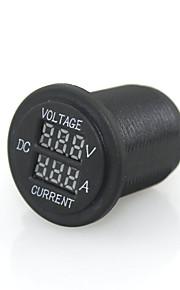 12 / 24v digital førte rødt lys indikator nuværende amperemeter + spænding meter panel stikkontakt for auto bil motorcykel