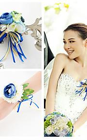 Peacock Color Boutonniere & Wrist Corsages (Set of 2)