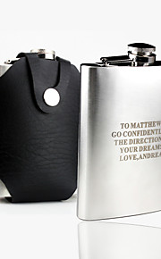 Gift Groomsman Personalized Stainless Steel 7-oz Flask with Leather Holder