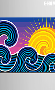 e-Home® sträckta canvas art sol och vågor dekorativt måleri en st