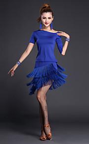 Latin Dance Outfits Women's Performance Polyester / Lycra Tassel(s) 2 Pieces Black / Fuchsia / Royal Blue