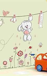 schöne weiße Kaninchen Wäscheleine Ebene Wandaufkleber Wanddekor, PVC herausnehmbare