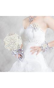 Elegant Pearl Wrist Corsages for Wedding Bride