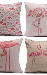 set om 4 flamingos&kranar örngott soffa heminredning kuddfodral (17 * 17 tum)