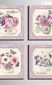 e-home® strukket lerret kunst rosa blomster på koppen dekorasjon maleri sett 4