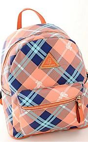 Women PU Bucket Backpack - Blue / Orange