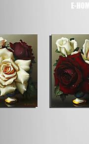 e-Home® venytetty kankaalle taidetta valkoinen ja punainen ruusu koriste maalaus joukko 2